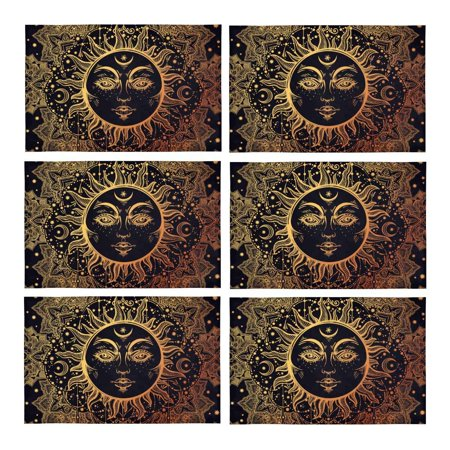 MKHERT Beautiful Floral Paisley Sun Face Medallion Pattern Placemats Table Mats for Dining Room Kitchen Table Decoration 12x18 inch,Set of (Face Medallion)