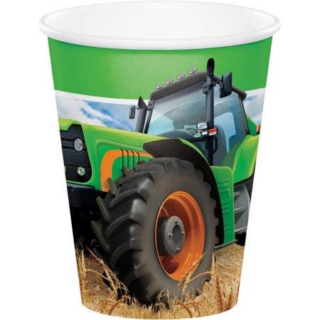Creative Converting Tractor Time Hot/Cold Paper Paper Cups 9 Oz., 8 ct