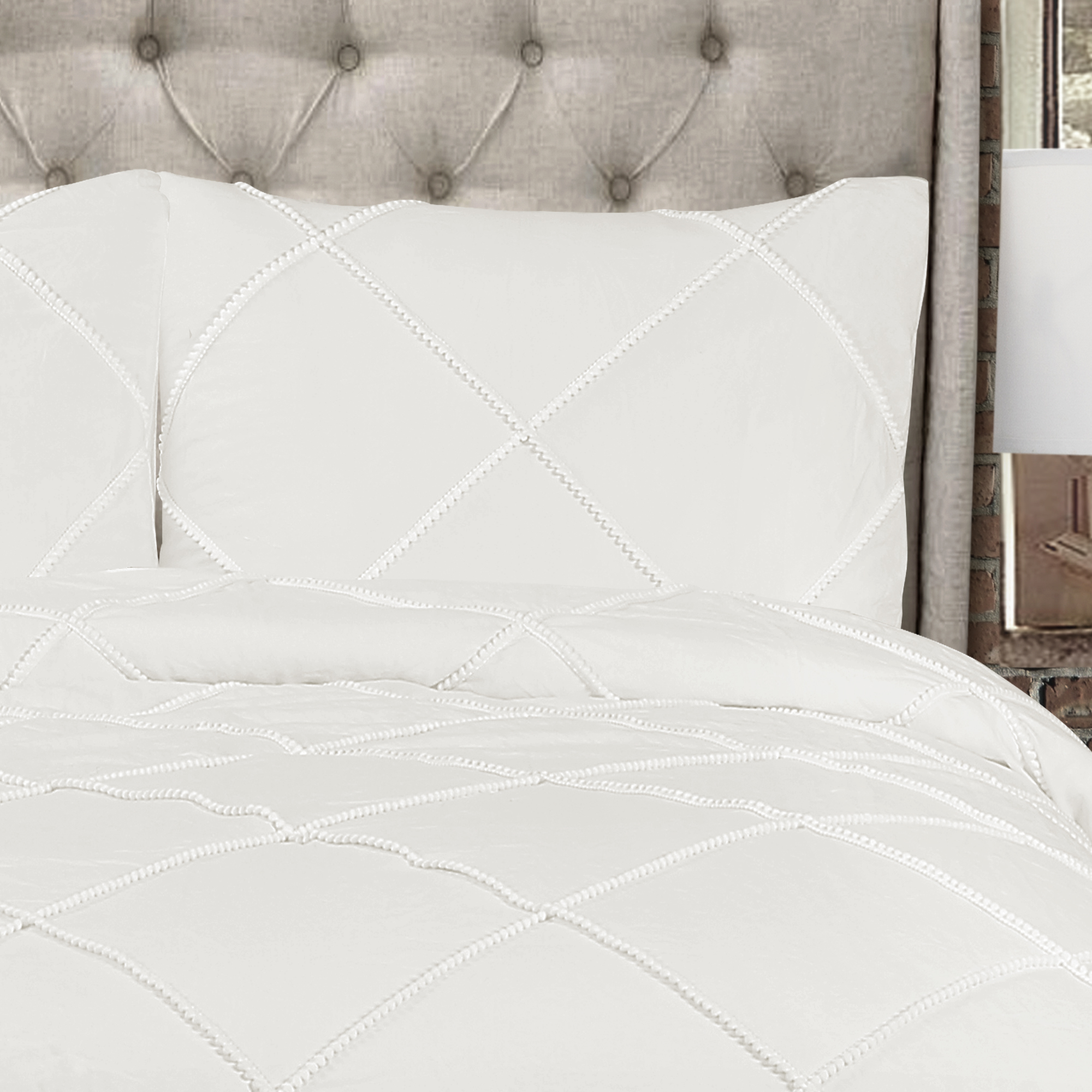 Diamond Pom Pom Comforter White 3Pc Set King