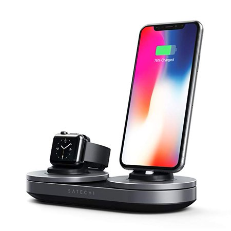 pretty nice 7d0c5 d8673 Satechi Type-C Dual Charging Station Dock for iPhone X, 8 Plus, 8, 7 Plus,  7, 6 Plus, 6, 5s, 5 & Apple Watch 1, 2, 3 Series (Space Gray)