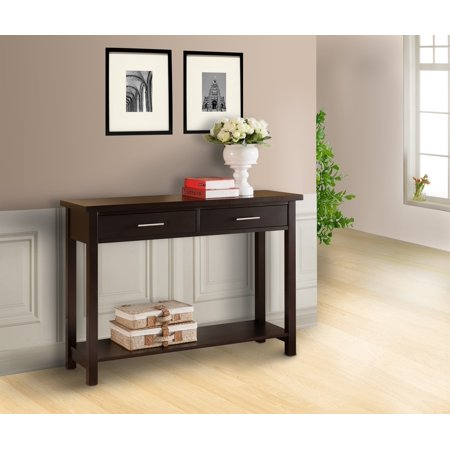 Espresso Wood Occasional Entryway Console Sofa Table