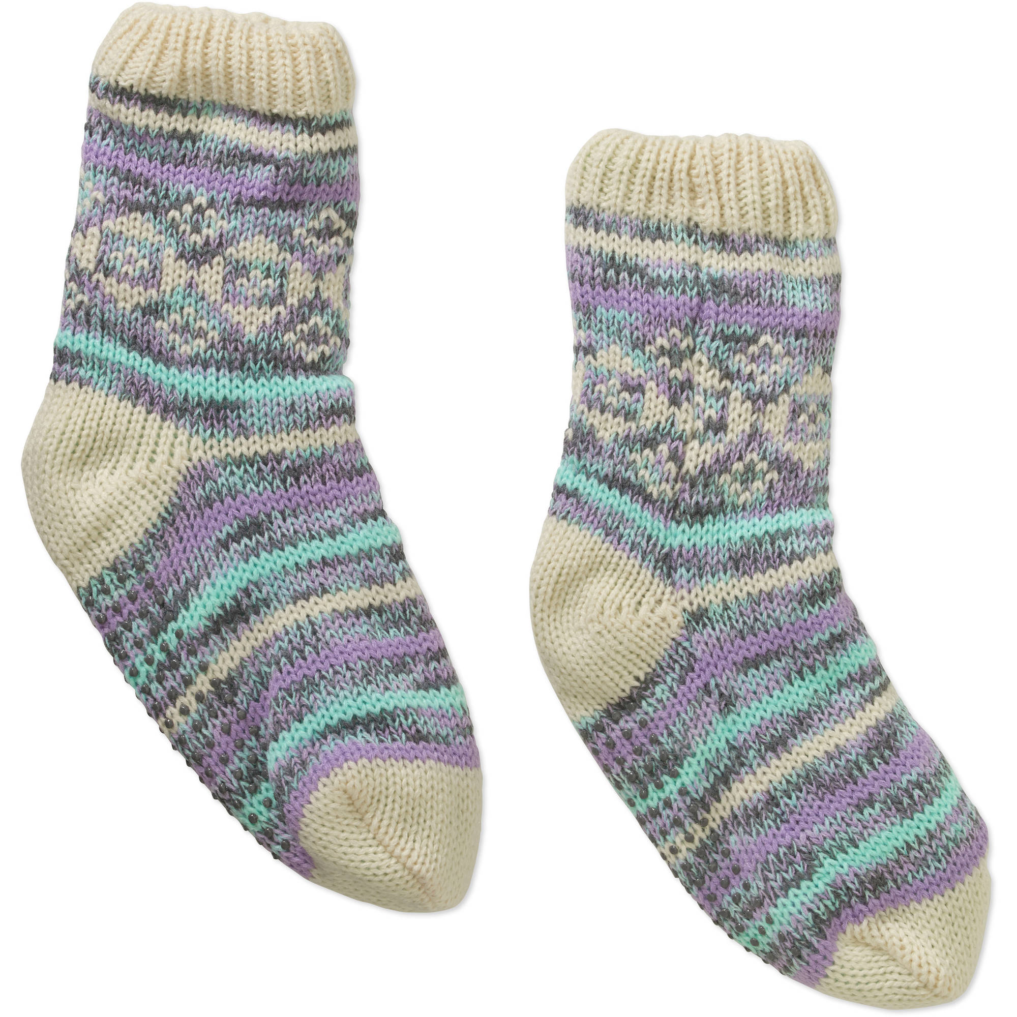 Ladies Fairisle Tartan with Spacedye Yarn Chunky Slipper Sock with Faux Fur lining