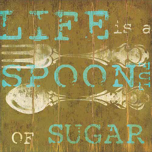 Sugar Spoon Wood Grain Ornate Cutlery Distressed Typography Green & Blue Canvas Art by Pied Piper Creative