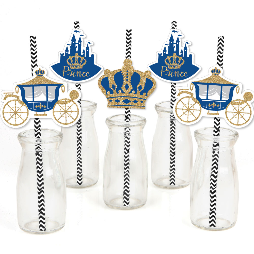 Royal Prince Charming - Paper Straw Decor - Baby Shower or Birthday Party Striped Decorative Straws - Set of 24