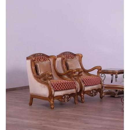 Imperial Luxury Red Brown & Gold RAFFAELLO III Chair Set 2Pcs EUROPEAN FURNITURE
