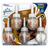 Glade PlugIns Refill 5 CT, Cashmere Woods, 3.35 FL. OZ. Total, Scented Oil Air Freshener