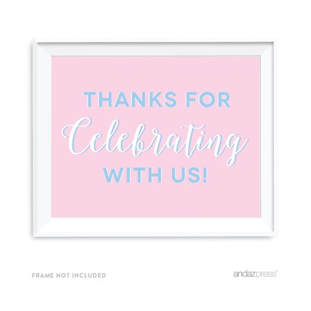 Signature Pink and Blue Gender Reveal Baby Shower, 8.5x11-inch Party Sign, Thank You for Celebrating With Us (Gender Reveal Signs)