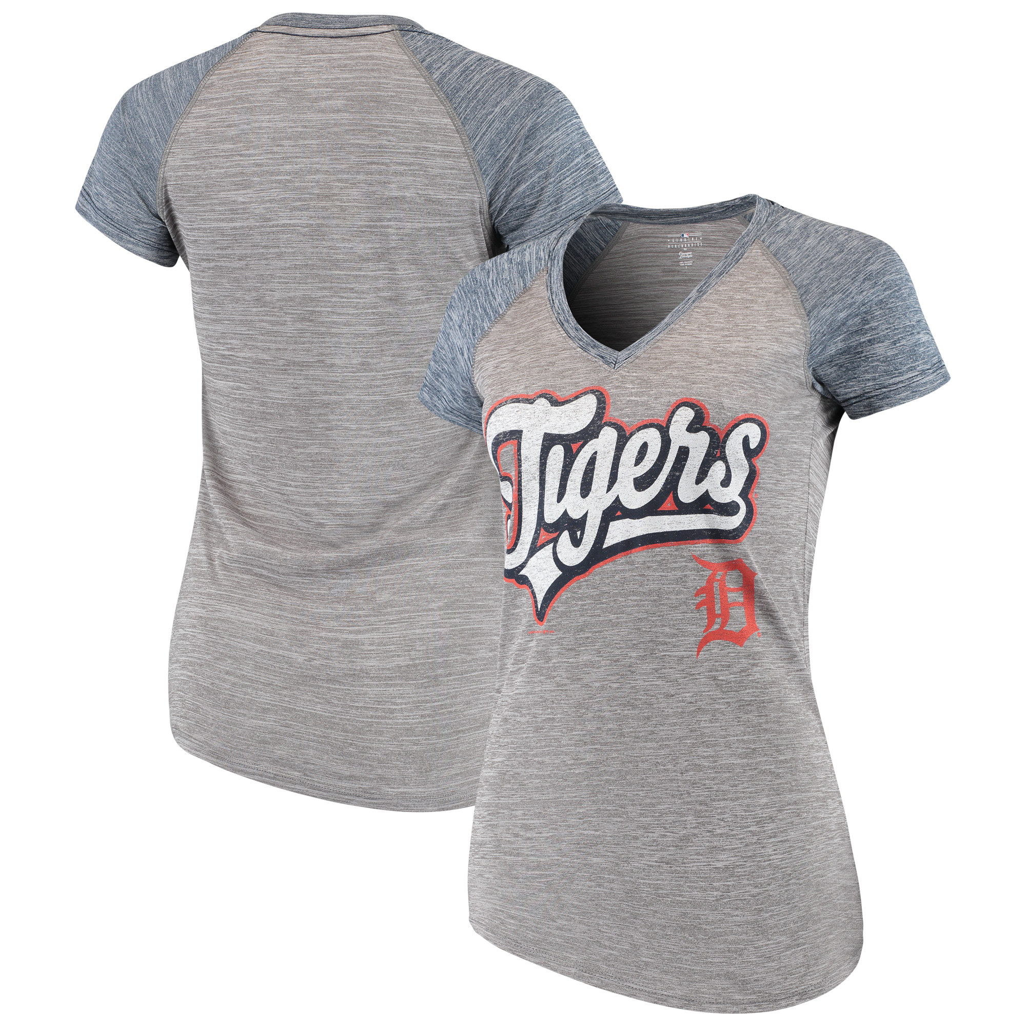 Women's New Era Gray Detroit Tigers Space Dye V-Neck T-Shirt