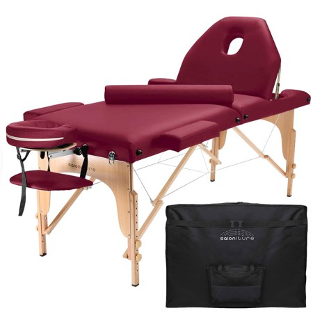 Saloniture Professional Portable Massage Table with Backrest - Multiple Colors Available