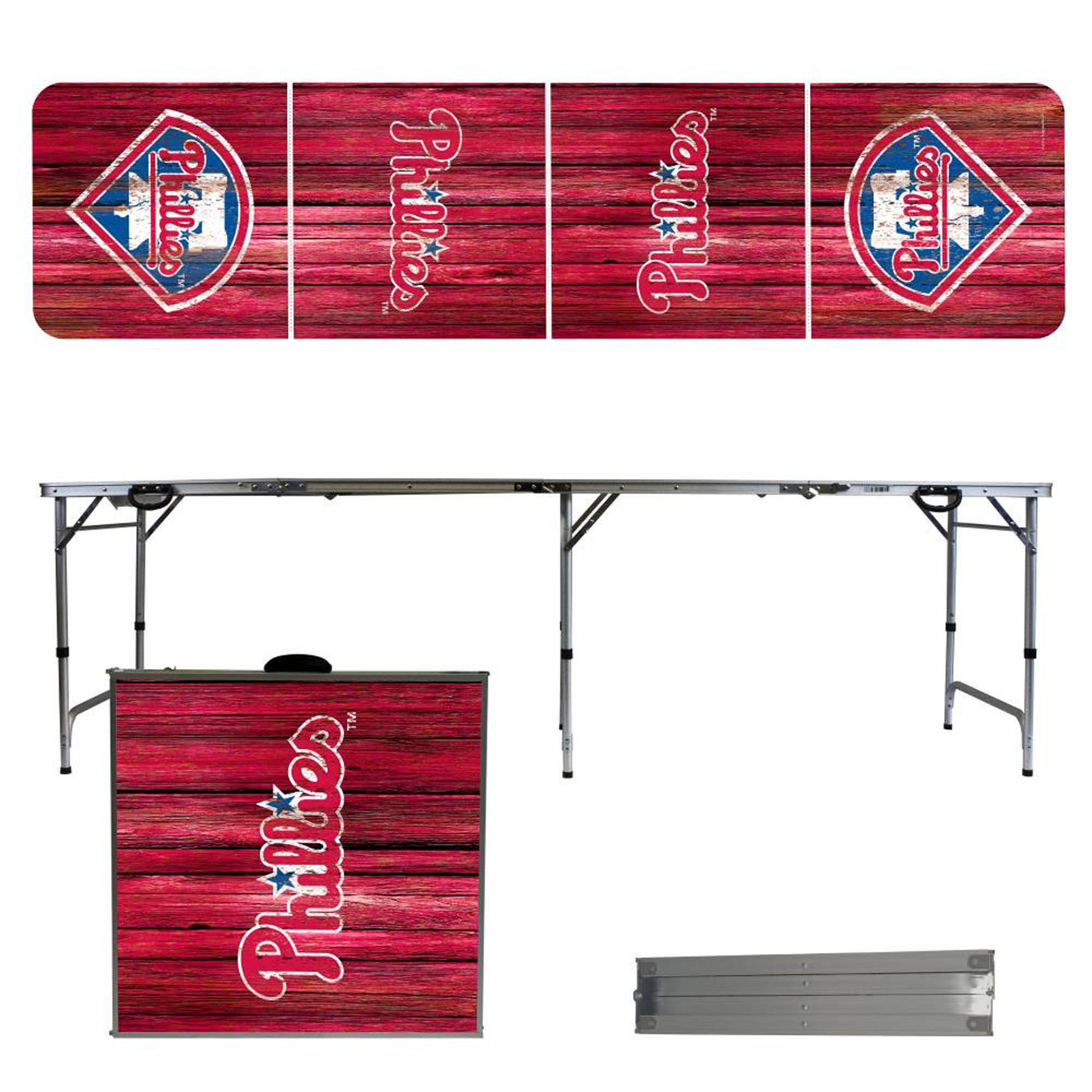 Philadelphia Phillies Weathered Design 8' Portable Folding Tailgate Table - No Size