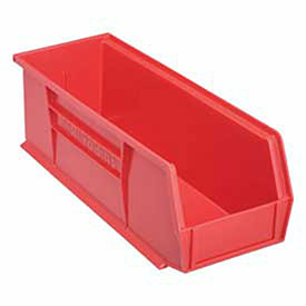 "Akro-Mils Plastic Stacking Bin, 5-1/2""W x 14-3/4""D x 5""H, Red, Lot of 12"