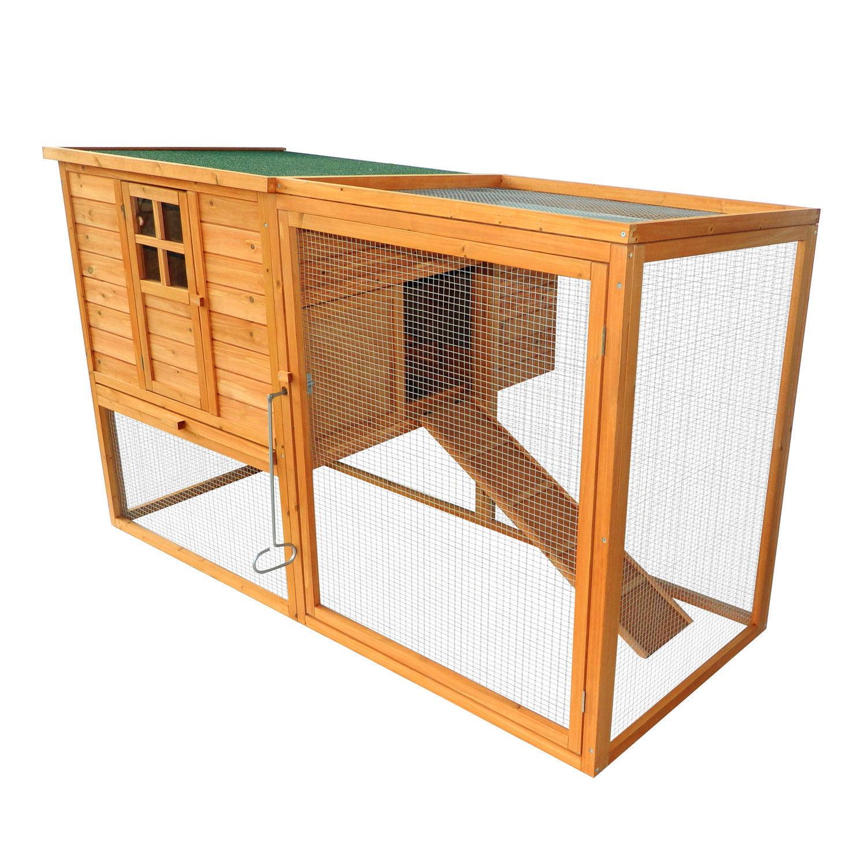 "PawHut 64"" Chicken Coop Hen House w/ Nesting Box and Outdoor Run"