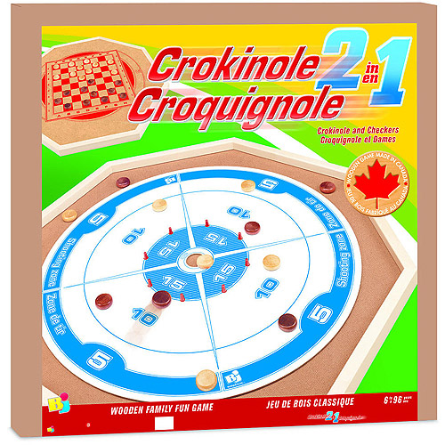 Bojeux Crokinole 2-in-1 Wooden Game