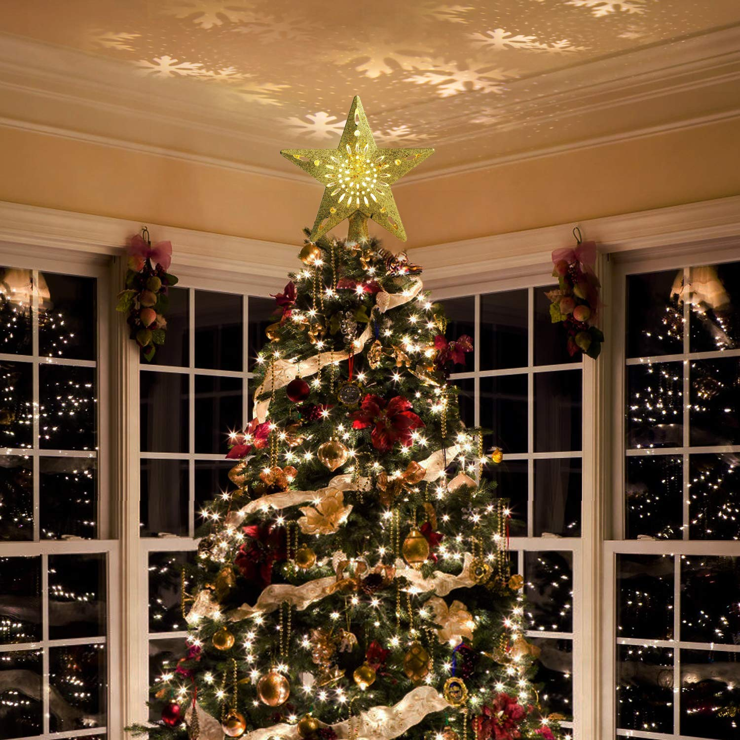whc0815 Christmas Tree Topper Lighted Star Tree Toppers with LED Rotating Snowflake Projector Lights 3D Hollow Star Christmas Tree Topper LED Snowflake Projector Lights Decoration Gold