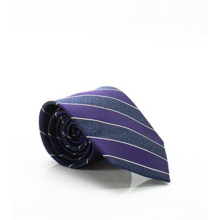 Purple Blue Men's One Heather Stripe Silk Neck Tie $52 Not Applicable Club Room Mens Silk Tie