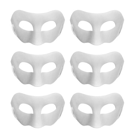 Home Diy Halloween (Aspire 6 PCS Blank DIY Masks Craft Paper Halloween Masquerade Face Mask Decorating Party)