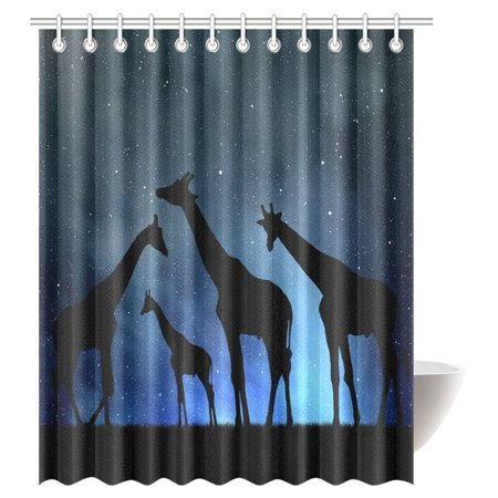 GCKG Wildlife Decor Shower Curtain Set, Safari with Giraffe Crew in the Night Sky Polyester Fabric Bathroom Shower Curtain 66x72 Inches - image 2 of 2