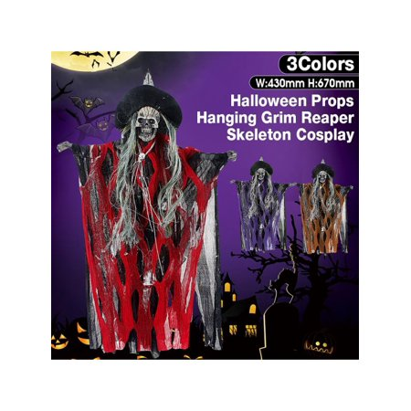 Halloween Hanging Ghost Voice Activated Glowing Red Eyes Grim Reaper Skeleton Cosplay Apparel Scary Decoration Prop - Skeleton Cosplay