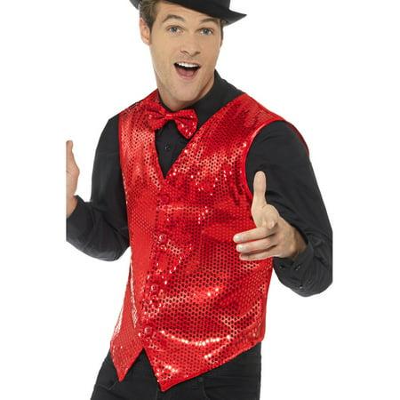 Mens Fancy Dress Red Sequin Magicians Waistcoat Vest Costume