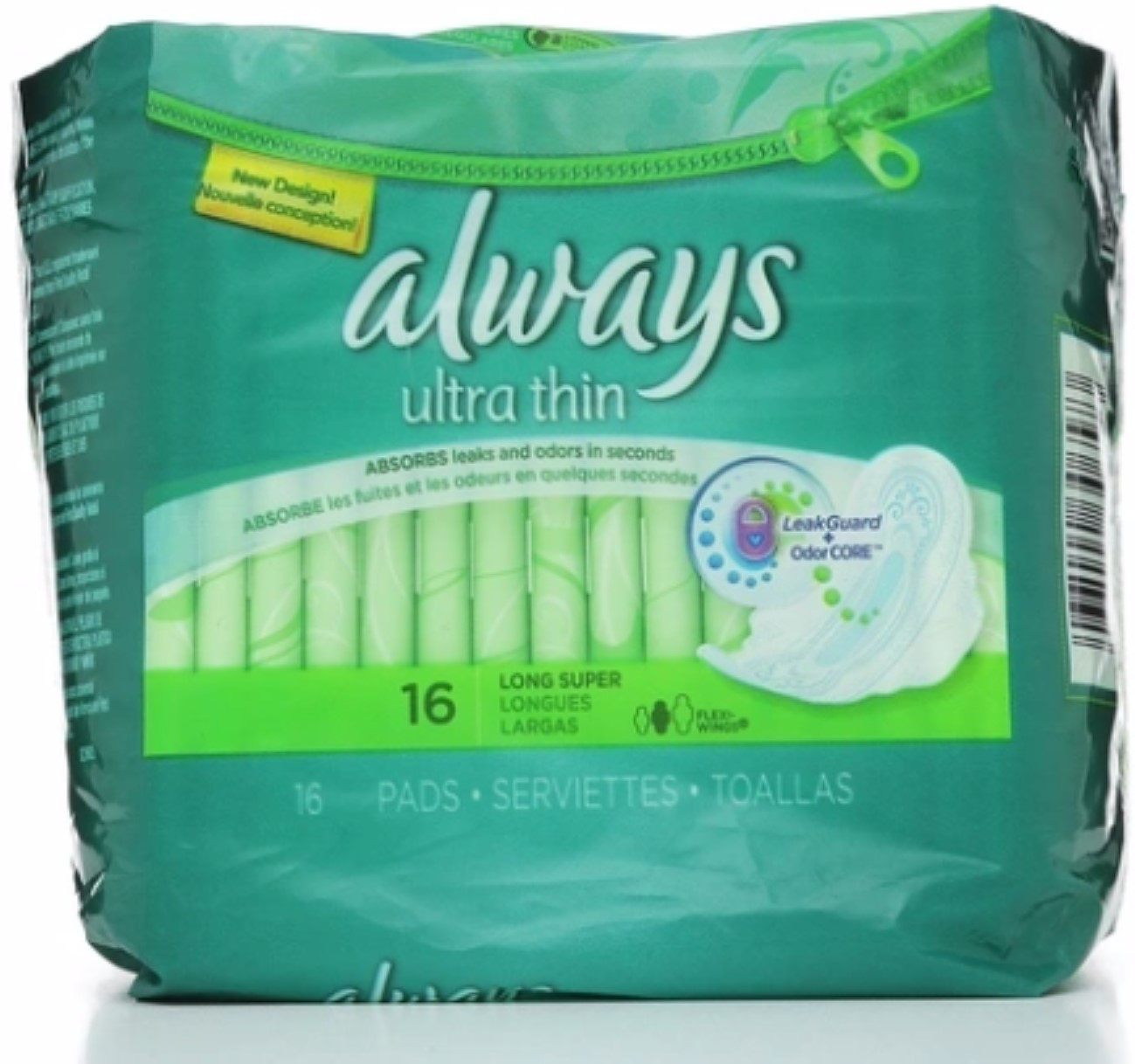 Always Ultra Thin Pads Long Super Flexi-Wings 16 Each (Pack of 4)