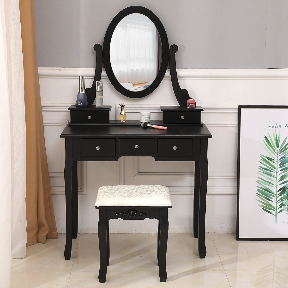 Zimtown Black Vanity Makeup Dressing Table Set W Stool 5 Drawers Mirror Jewelry Desk Walmart Com Walmart Com