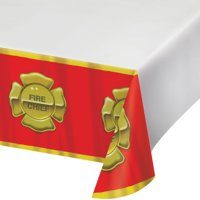 "Party Creations Firefighter Plastic Tablecover, Border Print, 54"" x 108"", 1 Ct"