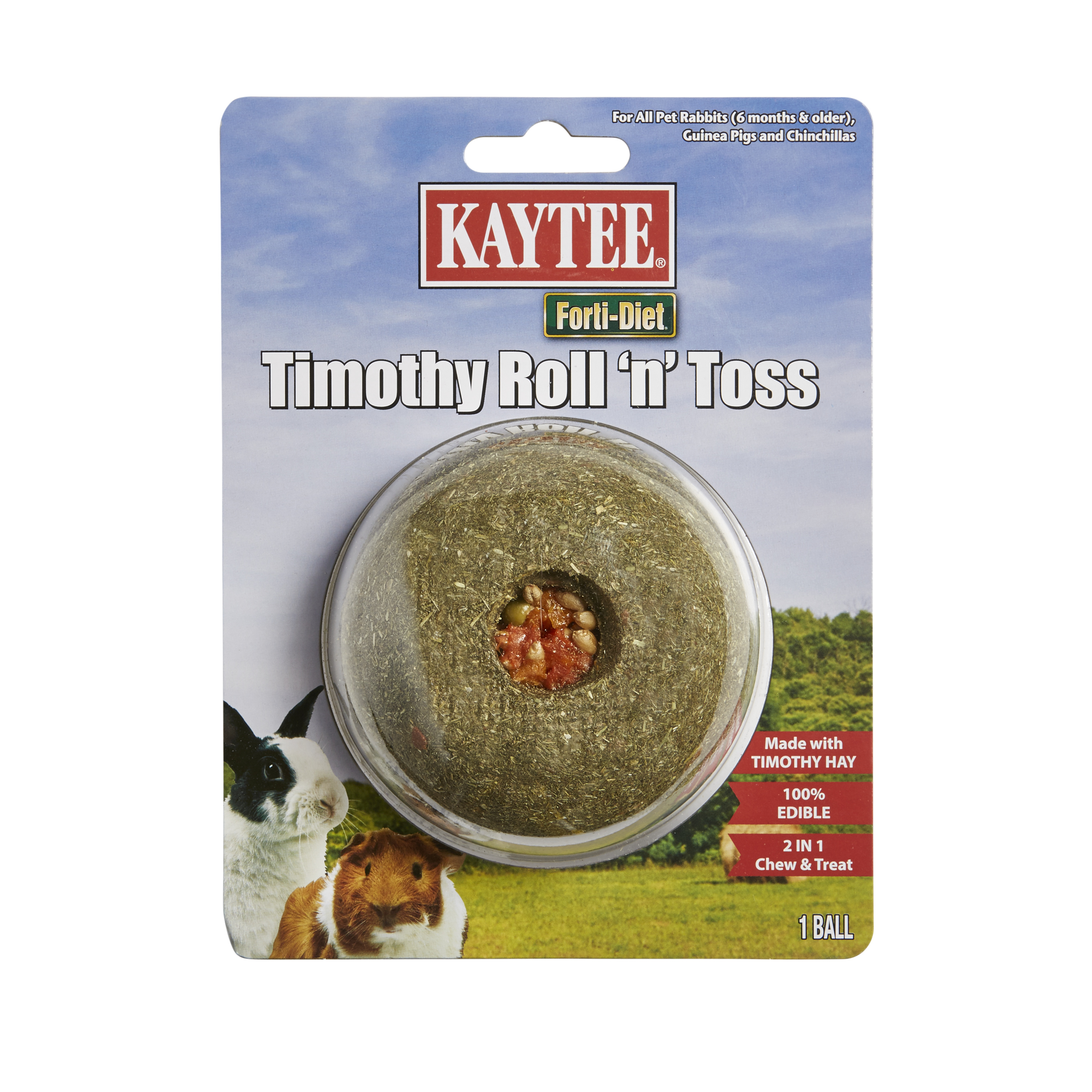 Kaytee Forti-Diet Timothy Roll 'n' Toss, Small Pet Edible Treat