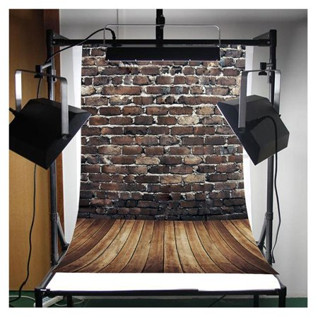 HelloDecor Polyster 5x7ft Retro Brick Printing Wooden Floor Studio Photo Photography Background Studio Backdrop Props best for Personal Photo, Wall