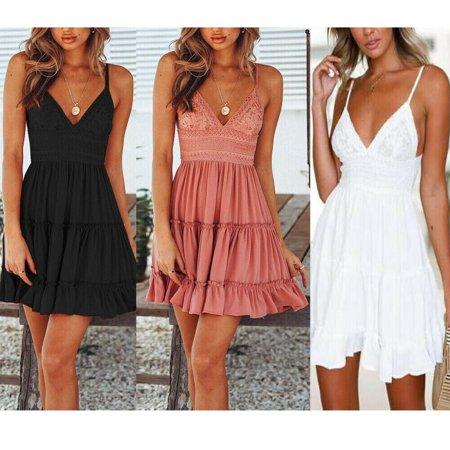 Women Summer Boho Short Mini Dress Evening Cocktail Party Beach Dresses Sundress Black Silk Mini Dress