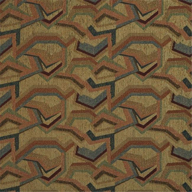 Designer Fabrics F854 54 in. Wide Burgundy, Orange, Blue And Green, Geometric Chenille Upholstery Fabric