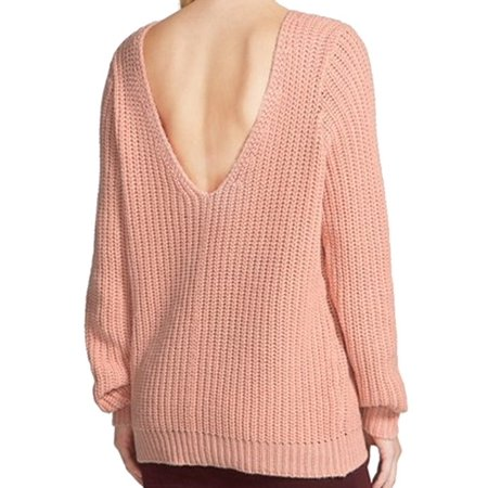 d7bede5efd1 Leith - Leith NEW Pink Salmon Women s Medium M Shaker Stitch V-Back ...