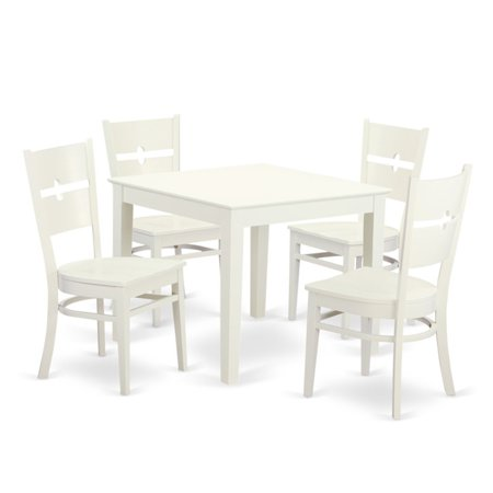 East West Furniture 5 Piece Modern Mission Breakfast Nook Dining Table Set