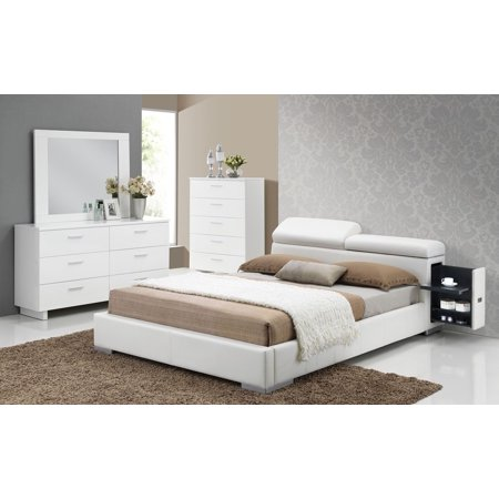 Modern contemporary white pu unique queen size bed with for Unique master bedroom furniture