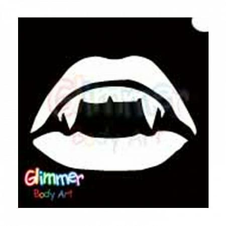 Vampire Bite Temporary Tattoos (Glimmer Body Art Glitter Tattoo Stencil Vampire Mouth)