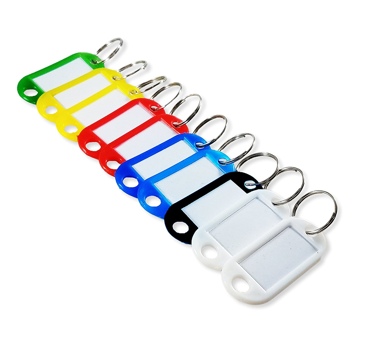 Key Tags with Split Ring & Label Window, ID Luggage Tags - Soft Plastic, Single Colors, by Better Crafts (Yellow, 30 pieces)