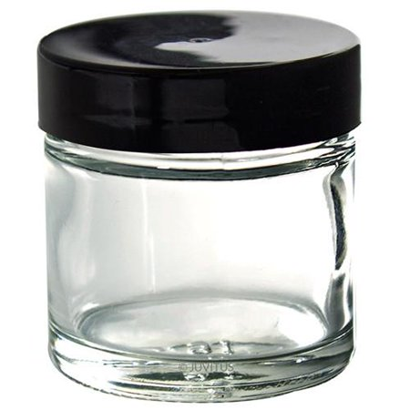Clear Thick Glass Straight Sided Jar - 1 oz / 30 ml (3 pack) + Spatulas and Labels