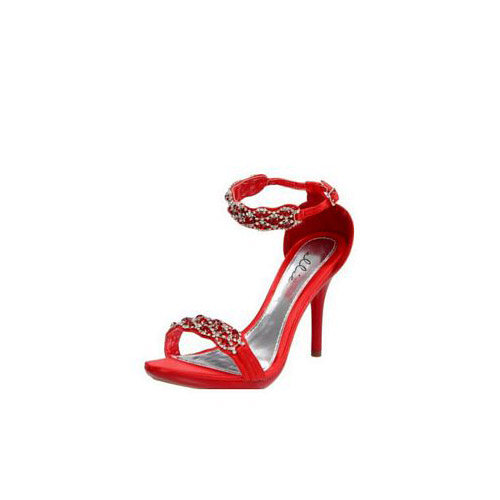 Ellie Shoes Red Rhinestone Sandal 431-STERLING Red
