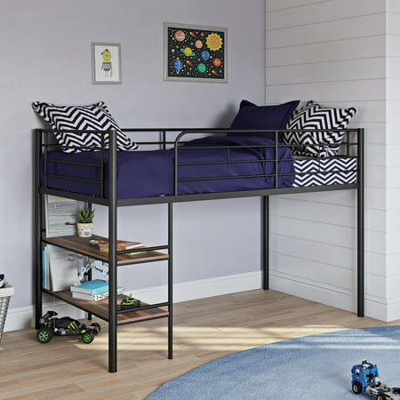 Your Zone Beckett Kids Metal Twin Loft Bed With Open Book