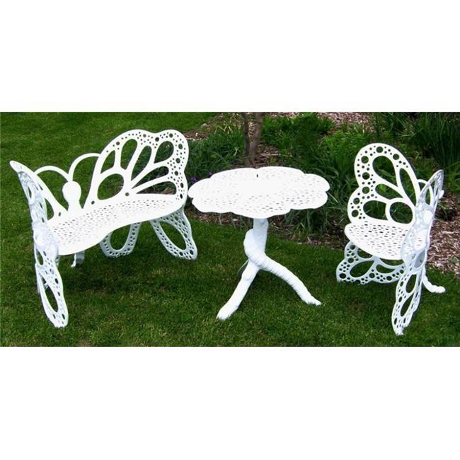 FlowerHouse FHBFSET3W Cast Aluminum Butterfly Garden Set ...