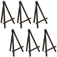 "U.S. Art Supply 8"" High Small Black Wood Display Easel (Pack of 6), A-Frame Artist Painting Party Tripod Tabletop Stand"