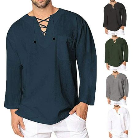 141b24afc626b0 Urkutoba - Men s Cotton Linen T Shirt Tops Casual Loose Lace Up V ...
