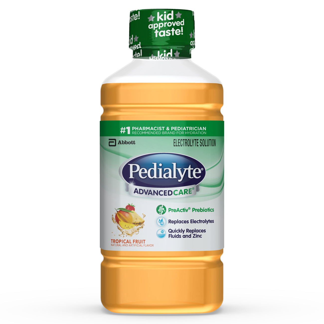 Pedialyte Advance Care Oral Electrolyte Solution, Tropical Fruit, 1 Liter
