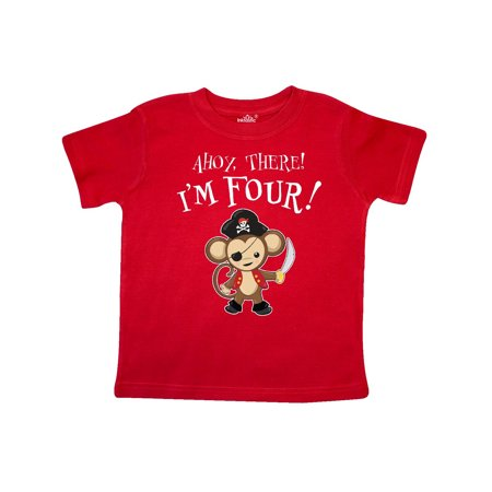 Ahoy, there! I'm Four!- pirate monkey Toddler T-Shirt