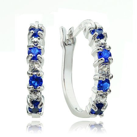 Sterling Silver Created Blue Sapphire & Diamond Accent Hoop Earrings