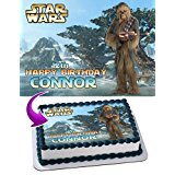 Wookiee chewbacca Star Wars Edible Cake Topper Personalized Birthday 1/4 Sheet Decoration Custom Sheet Party Birthday Sugar Frosting Transfer Fondant Image for cake](Star Wars Cake Decoration)