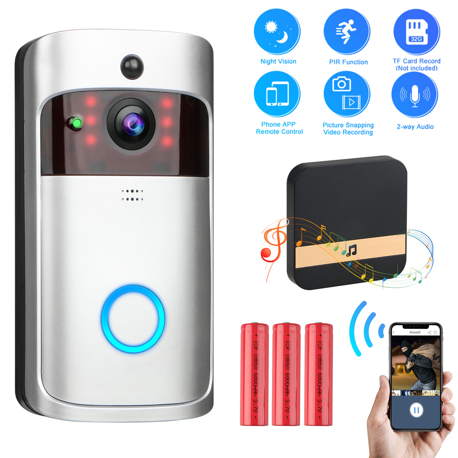 Smart Home WiFi Video Doorbell with Indoor Chime 2-Way Talk Battery Rechargeable PIR Motion Detection APP Control Long Time Standby Wireless/Doorbell Night Vision Cloud Service Available