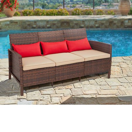 Suncrown Outdoor Furniture Patio Sofa Couch (Seats 3) Garden, Backyard, Porch or Pool | All-Weather Wicker with Thick Cushions | Modern Open-Back Weaving | Easy to Assemble ()