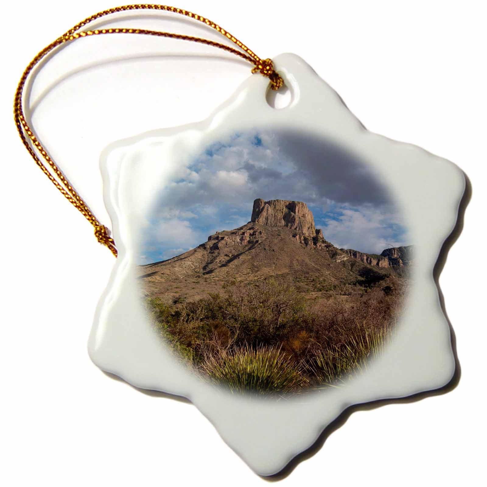 3dRose Casa Grande Peak, Chisos Basin, Big Bend National Park, Texas, USA., Snowflake Ornament, Porcelain, 3-inch