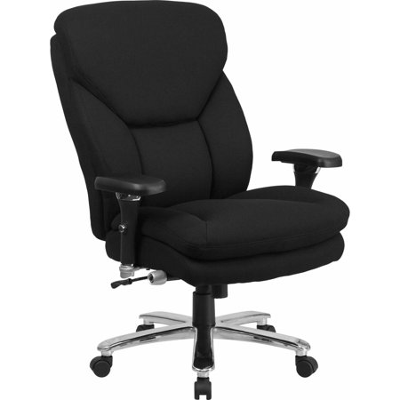 Flash Furniture Hercules Series 24 7 Intensive Use  Multi Shift  Big   Tall 400 Pound Capacity Black Fabric Executive Swivel Chair With Lumbar Support Knob