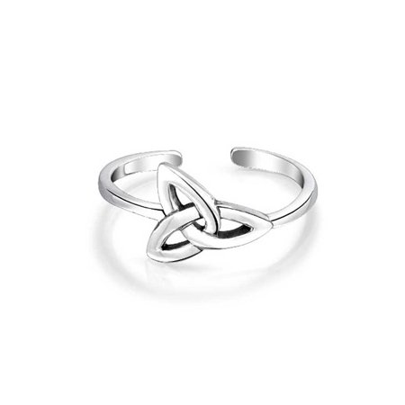 Celtic Trinity Knot Work Triquetra Shape Midi Toe Ring Thin Band Oxidized 925 Silver Sterling Adjustable - image 5 de 5